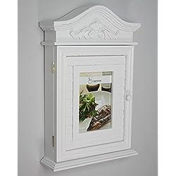 Casella chiave con foto e cornici in bianco antico legno