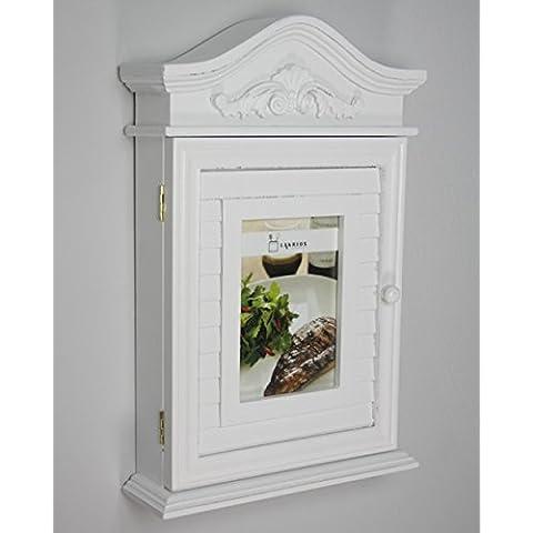 Caja de llaves con la foto y marcos de cuadros en blanco de madera antigua