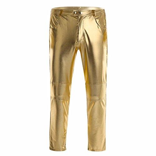 YiZYiF Glänzende Herren Slim Fit Soft PU Faux Leder Biker Hose Trachtenlederhose Trachtenlederhose Lederhosen Gold X-Large -