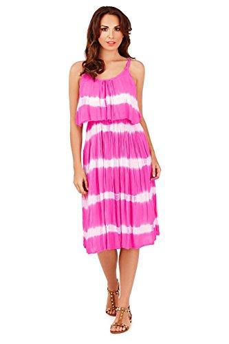Pistachio Femmes Tie And Dye Court Robe Mi-longue Avec Volants Superposition Rose
