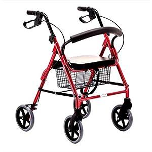 WZHWALKER Gehhilfe Für Ältere Menschen, Gehhilfe Aus Aluminiumlegierung, Klappbar Mit 4-Rad-Zusatzlaufhilfe, Rot