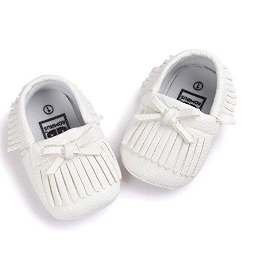 Clode® Lit bébé Glands bowknot Chaussures enfant Sneakers Chaussures (12 ~ 18 mois, rose) blanc