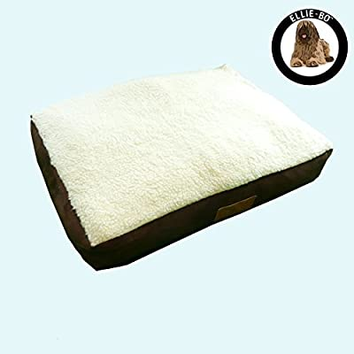 Ellie-Bo Dog Bed with Faux Suede and Sheepskin Topping for Dog Cage/ Crate Large 36-inch