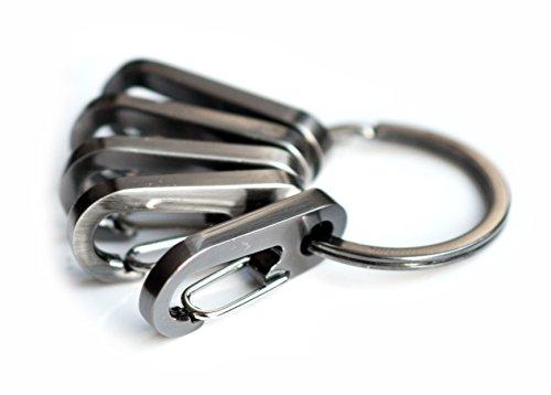 Mister LONG 10x S-Biner Karabiner Schnapphaken Schlüsselorganizer Keyracks Schlüsselanhänger Schlüsselbund Öse maschinengrau metallic Clip Wandern (10x Karabiner & 1x Ring) -