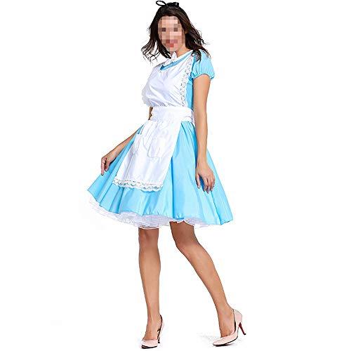 Kostüm Wunderland Alice Halloween Im Geist - kMOoz Halloween Kostüm,Outfit Für Halloween Fasching Karneval Halloween Cosplay Horror Kostüm,Alice Im Wunderland Maid Kostüm Blau Weiß Cosplay Anime Maid Kostüm