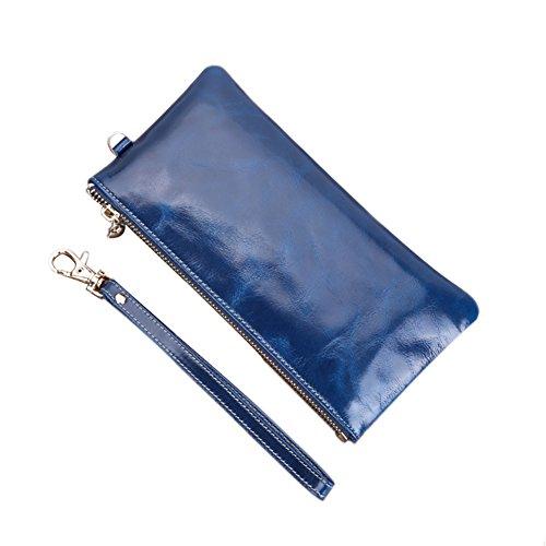 Genda 2Archer Pelle Moda borsetta Frizione Cell Phone Cash Coin Purse con cinturino da polso (Blu) Blu