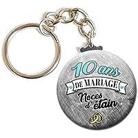 Porte Clés Chaînette 3,8 centimètres 10 Ans de Mariage Noces d' Étain Idée Cadeau Accessoire Accessoire Anniversaire…