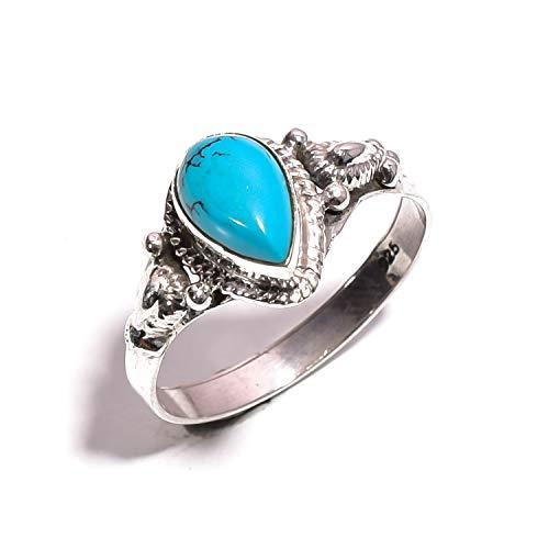 Mughal Gems & Jewellery 925 Sterling Silber Ring natürlichen tibetischen Türkis Edelstein Fine Jewelry Ring für Frauen & Mädchen Größe 8,25 US (ZR-747