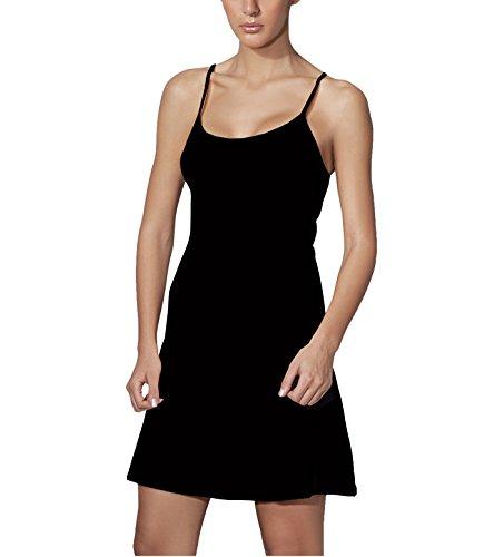 Doreanse Damen Unterkleid Mini Nachtkleid verstellbare Träger Soft Cotton Full Slip (44 - XXL, Schwarz) (Slip Baumwoll-slip-full)