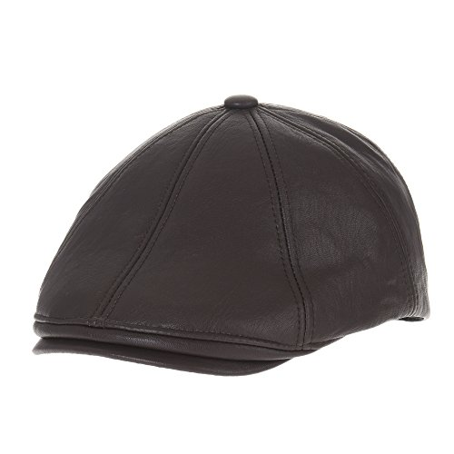 WITHMOONS Sombreros Gorras Boinas Bombines Faux Leather Glossy Snake Skin  Flat Cap Hat DW3486 (Darkbrown 451e9d3b766