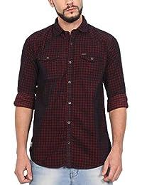 8775ef986 NORTH REPUBLIC Men's Red Corduroy Checks Cotton Full Sleeves Casual Shirt