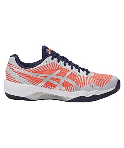 Asics Volley Elite Ff, Chaussures de Volleyball Femme Multicolore (Flash Coral/glacier Grey/indigo Blue 0696)