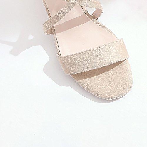 Ceintures de cheville Talons hauts Ladies Elegant Roman Sandals Beige