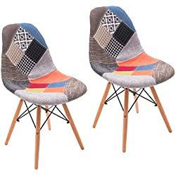 Silla de Comedor Cool tapizada en Tela Patchwork inspiración Silla Tower - 2 Unidades