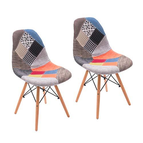 Homely Silla de Comedor Cool tapizada en Tela Patchwork Inspiración Silla Tower