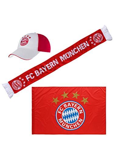 FC Bayern München Fan-Set Stadion, mit Schal, Fahne, Cap für echte FCB Fans