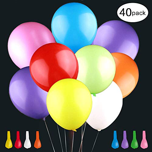 HONKID LED Luftballons 40 Stücke LED Leuchtende Ballons Bunte Ballons mit 8 Blitzlichtern Bunt schöne Ballons für Hochzeit Weihnachten Geburtstag Fasching Valentinstag Party Deko