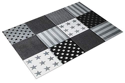 Paco Home Kinderteppich Sterne Muster Kurzflor Konturenschnitt Karo Design Grau Schwarz, Grösse:120x170 cm