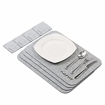 Placemats and coaster sets, Natur® Menu felt dining table set with placemats and coasters in set of 4