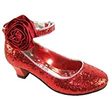 Rojo de niñas tacón bajo purpurina fiesta Mago de Oz Dorothy zapatos