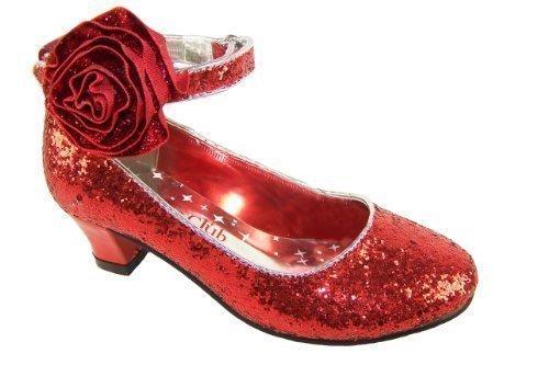 1884a2fd2 Rojo de niñas tacón bajo purpurina fiesta Mago de Oz Dorothy zapatos ...