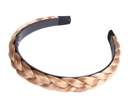 rreifen mit geflochtenem Zopf Geflochten Braun Schwarz Stirnband Perücke Damen (1.8cm, Golden) (Geflochtene Perücken)