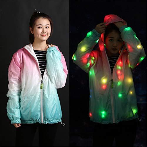 SuaMomente LED Flash Regenbogen Licht Jacke Unisex Kapuzenjacke Kleidung Neuheit Nachtlauf Cool Coat,Gradient,5XL