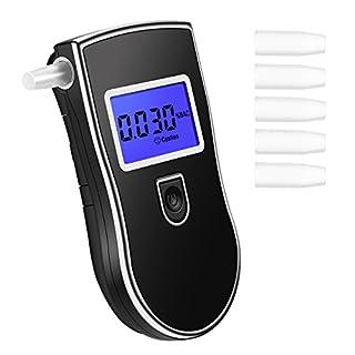 TopElek Alkoholtester Digital Alkohol Tester Analyzer Detector Atemalkohol-Tester mit LCD Display (5 Mundstücke).
