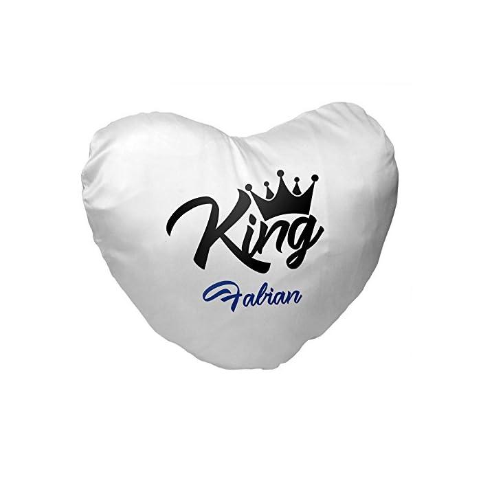 Herz-Kissen mit Namen Fabian und King-Motiv für Männer | Geschenk zum Valentinstag für Verliebte | Kuschelkissen