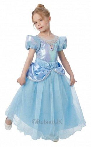 Offiziell Disney Mädchen Super Deluxe Pailletten Märchenprinzessin Buch Tag Woche Halloween Kostüm Kleid Outfit - Cinderella, 116 (Cinderella Deluxe Kleid)