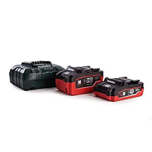 """Metabo 685103000 3.5/5.5 A LIHD Batteries and ASC30-36 Fast Charger in """"MetaLoc"""" Carry Case, 18 V, Green/Black/Red"""