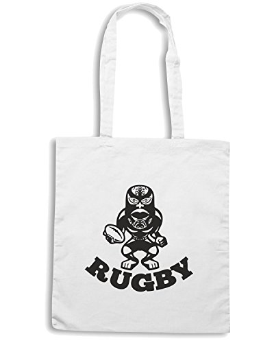 T-Shirtshock - Borsa Shopping TRUG0036 maori mask rugby player running with ball fending logo Bianco