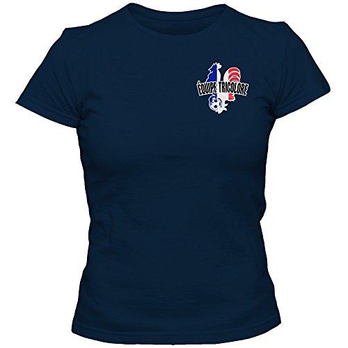Frankreich WM 2018#9 T-Shirt | Damen | Équipe Tricolore | Les Bleus | Fußball | Fanshirt | Nationalmannschaft, Farbe:Dunkelblau (Navy L191);Größe:L