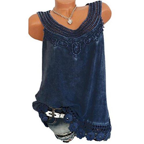 Hevoiok Sommer Ärmellos Shirt Weste Damen Fashion Sexy Reine Farbe Spitze Tank Top T-Shirt Sexy Fraun Oberteile Locker Oversize Bluse S-5XL (Blau, 5XL)