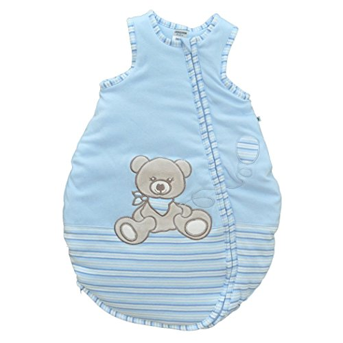 Jacky Jungen Baby Ganzjahres Schlafsack Ärmellos, 100% Baumwolle, Hellblau/Ringelstreifen, Gr. 62/68, 350012