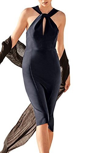 Abendkleider Damen Knielang Elegant Cocktailkleid Rückenfrei Schulterfrei  Mit Schlitz Eng Asymmetrisch Ärmel Unique Die Neue Neckholder Kleid  Partykleid ...