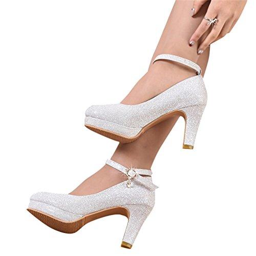 Arrobin Khan JL ZB High Heel Brautkleid Schuhe Silber High Heel Brautschuhe (hoch 8cm) A+ (Farbe :...