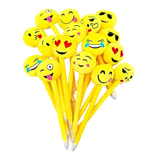 JZK 16 Peluche Emoji penna divertente set penne a sfera biro blu penna bambini regalo ragazzi bomboniera pensierino festa compleanno pensiero bambini