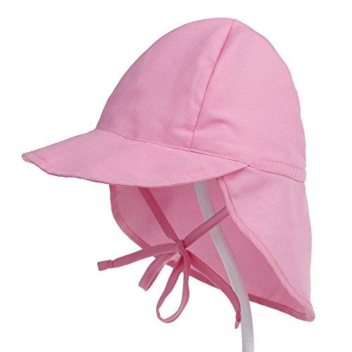 Boomly Bébé Chapeau de Cravate avec Protection du Cou Chapeau de Soleil Casquette de visière Respirant Séchage Rapide Sunhat avec jugulaire Chapeau de Plage Chapeau de Chapeau de Seau (Rose, S)