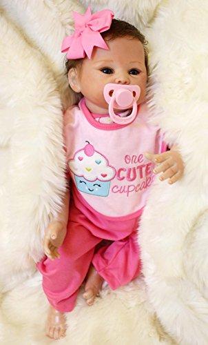 TERABITHIA 18 Zoll Real Life Wiedergeboren Baby Puppe, Preemie Baby Puppe handgefertigt in Soft Vinyl wie Silikon und gewichteten Tuch Körper - Baby Puppe Tuch