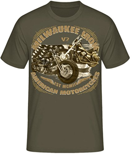 Biker Shirt T-Shirts Milwaukee Iron Chopper Bobber Route 66, Skull V2 Motorrad Milwaukee Iron V2 oliv (army)