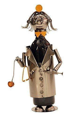 Extravaganter Wein Flaschenhalter Doktor aus Metall Höhe 22 cm