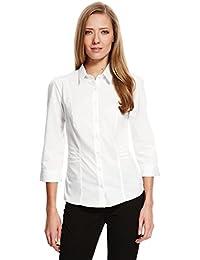 be6439cb4af0ed Marks & Spencer Cotton Rich Fuller Bust No Peep Placket Long Sleeve 1544  White Work Shirt