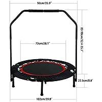 Preisvergleich für Tomasa Fitness Sport Trampolin 102 x H112.5cm Indoor/Gartentrampolin Jump Trampolin mit Haltegriff