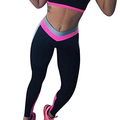 Damen hohe Taille Stretch Skinny Basic Elastic Ankle Leggings Workout Leggings Yoga Strumpfhosen – [Einfache], hot pink, Large