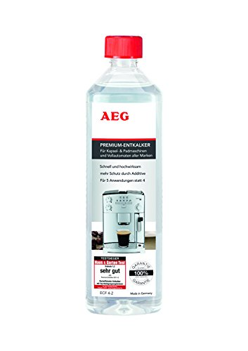 AEG ECF4-2 Premium-Entkalker für alle Vollautomaten, 100{43e7aa98574638a36efd7b0c371e210ce598f49e98216202fbba08d3c9ce6641} Garantie für alle Marken, Testsieger, 5 Anwendungen anstatt 4