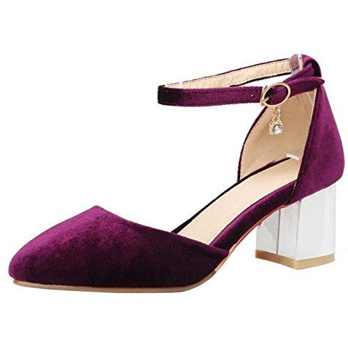RizaBina Femmes Mode Bloc Talons Moyen Sangle De Cheville Escarpins Violet