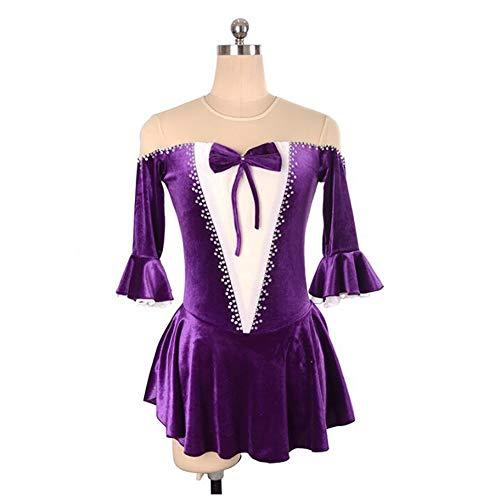 XIAOY Eislauf Wettbewerb Eistanz Performance Eislaufen Kostüm Handgefertigt Eiskunstlauf Kleid für Mädchen und Frauen,Purple,XXL