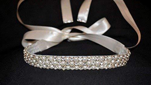 2019 Haarschmuck Hochzeit Haarband Stirnband Tiara Braut Strass Perlen weiß ivory