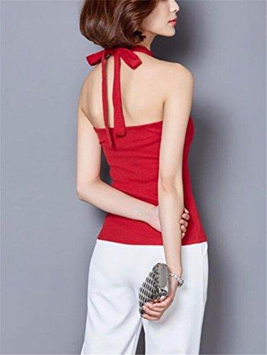 Licol Femmes Coton Shapewear Doux Club Sexy Hauts Sans Manches D'Ete Blouses Cami Rouge